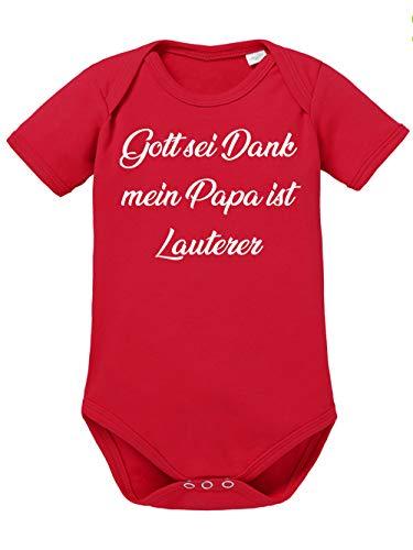 clothinx Gott Sei Dank, Mein Papa ist Lauterer, Lustiges Fussballmotiv Baby Body Bio Rot Gr. 68