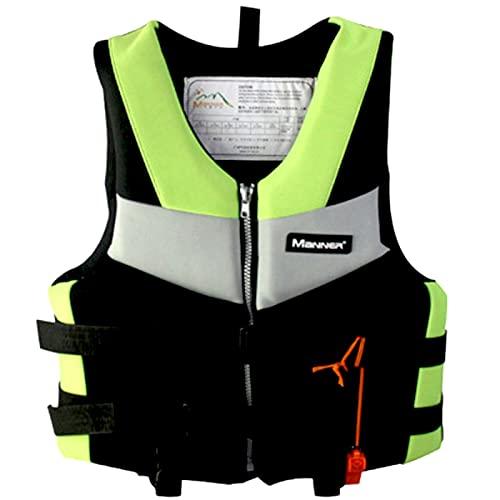 XKDWAN Chaleco Salvavidas Adulto, Chaleco de Natación con Silbato de Emergencia para Nadar,Pesca,Kayak,Navegación,Remo,Verde,S