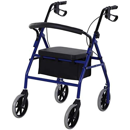 HOMCOM Andador para Adultos Plegable con Almacenaje Asiento y Frenos 77x55.5x84-93 cm Azul y Negro