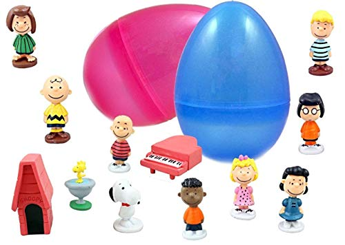 COOLINKO 6' Jumbo Giant Easter Eggs with Peanuts Cartoon Figurines - Charlie Brown, Snoopy, and Woodstock to Delight All Ages - Ready to Fill, Hide and Enjoy - Perfect As Kids Party Favors and Cake T
