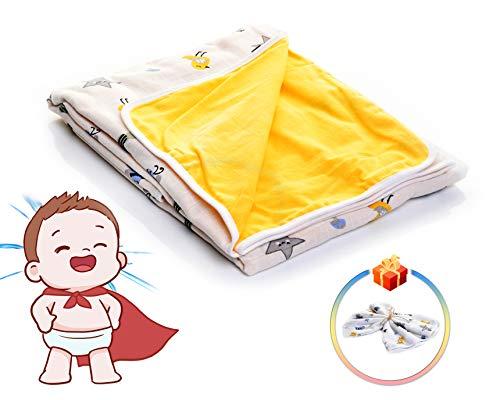 VEcome - Manta para bebé, 100% algodón, 100 x 120 cm, para niños y niñas, además de manta cambiadora de regalo, 60 x 60 cm, multifuncional, cómoda y segura, también para niños, color amarillo