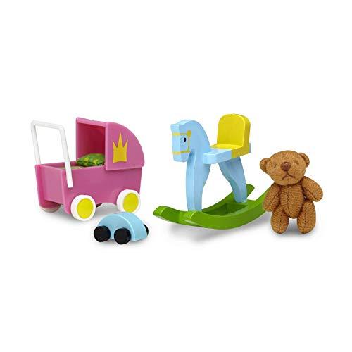 Lundby 60-509100 - Spielzeug Set Puppenhaus - 7-teilig - Puppenhauszubehör - Schaukelpferd - Puppenwagen - Auto - Teddybär - Kinderzimmer - Zubehör - ab 4 Jahre - 11 cm Puppen - Minipuppen 1:18