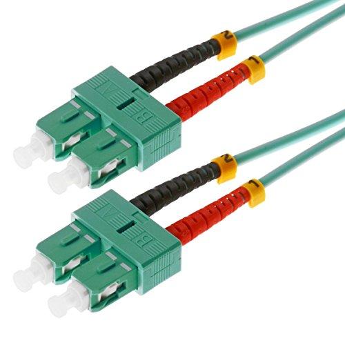 Helos LWL Patchkabel 50/125μm OM3 3,0m, SC Duplex Stecker, Aqua/türkis, 115789, 3,0 m