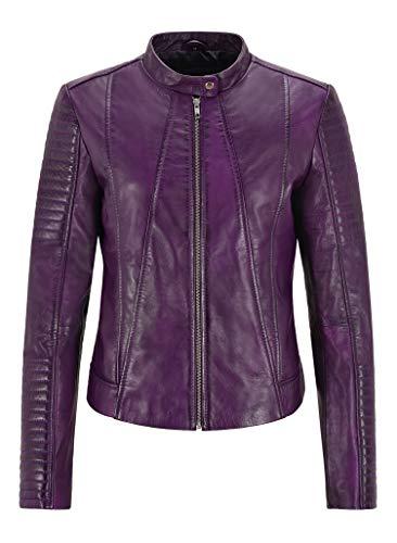 Smart Range Leather Chaqueta de Mujer Supreme Chaqueta de Cuero Genuina clásica napa Morada 2411
