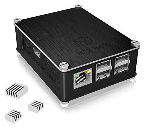 ICY BOX IB-RP102 Gehäuse für Raspberry Pi 2 & 3 Model B, Aluminium, 3X Kühlkörper, luftdurchlässiges Seitengitter, schwarz