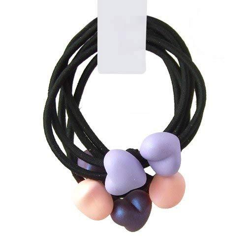 30-702 - Set 3 pezzi elastici doppi diametro cm 6 con cuori gommati - Colori assortiti