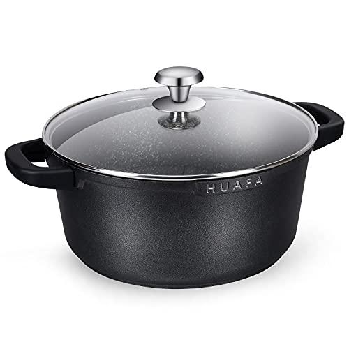HUAFA Cacerola con Tapa de Cristal y Asas de Silicona, Apta para Todo Tipo de cocinas incluida inducción y Horno, Aluminio Fundido con Antiadherente,24 cm, 4,5 L, Negro