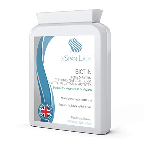 Biotin 10,000mcg 120 Tablets - Made Using 100% D-Biotin The only Natural Form with Full Vitamin B7 Activity to Support Healthy Hair, Nails and Skin