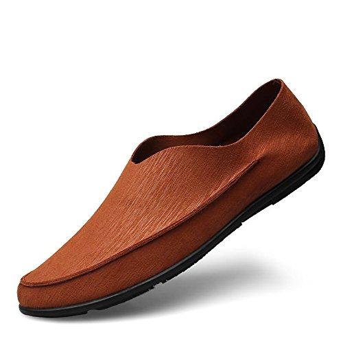 Casual Suede Shoe Mann-treibender Loafer-beiläufiger Art-PU-Leder-niedriger Satz-Fuß-weiche Unterseite große Normallack-Boots-Mokassins Herren Sneaker (Color : Brown, Size : 41 EU)