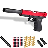 Glock Shell Ejection Soft Bullet Toy Gun with 16 Bullet Case,20 Soft Bullet,2 Magazine,1 Silencer,1: 1 Size Boys Toy Guns with Silencer (Red)