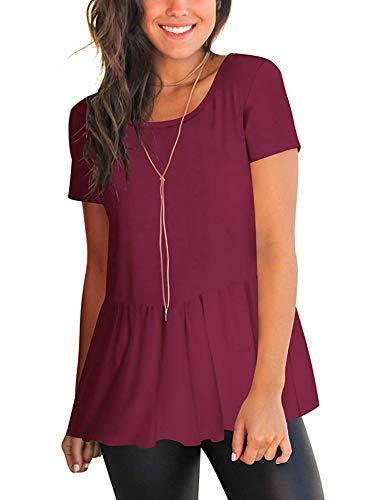 iClosam Tops Mujer Camiseta Manga Corta de algodón con Volantes sólidos Camisas de Mujer Talla Grande Blusa Casual Elegantes