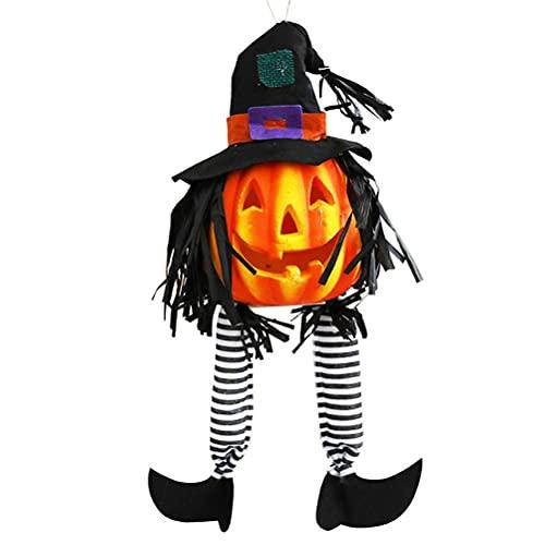 Asotagi Farol de calabaza brillante de Halloween lámpara de calabaza de piernas largas decoración de Halloween para chimenea césped terraza