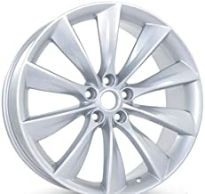 New 21 inch x 9 Rear Wheel compatible with Tesla Model S 2012 2013 2014 2015 2016 2017 Silver Rim 97095 (Part # 101733700A 101733701A 6005868)