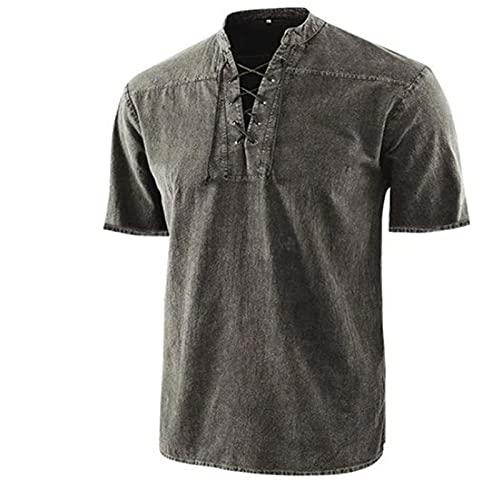 Gothic Hemden für Herren, Vintage Kurzärmliges literarisches T-Shirt V-Ausschnitt Schnürkrawatte Kurzarm Oberteil Shirts