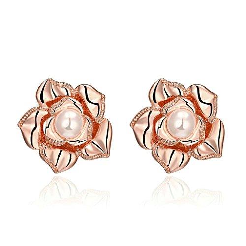 KNSAM - Pendientes Mujer Flor Vintage Perla Oro Rosa Cristal 18K Chapado en Oro Aretes para Novias