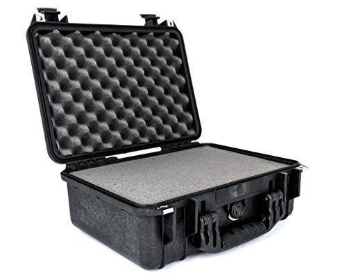 PELI 1450 Wasserdichter Peli Koffer für Kamera, Drohne and Fragile Gegenstände, IP67 Wasser- und Staubdicht, 15L Volumen, Hergestellt in Deutschland, Mit Schaumstoffeinlage (Anpassbar), Schwarz