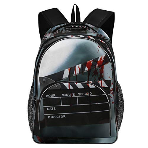 College School Laptop Backpack 15.6 Inch - Slate Film Clapperboard for Horror Movie Waterproof Students Bookbag with USB Charging Port for Women Gift