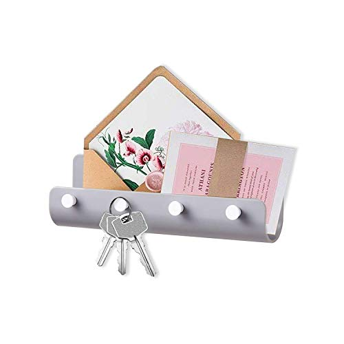 Key Holder for Wall, Adhesive Mail Organizer Wall Mount with 4 Key Hooks, Key Hanger Mail Holder for Wall Holds Letters Phones Wallets, Key Rack Organizer for Entryway Office Kitchen Bathroom, Gray
