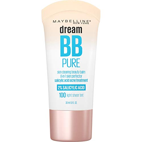 Maybelline Dream Pure Skin Clearing BB Cream, 8-in-1 Skin Perfecting Beauty Balm With 2% Salicylic Acid, Sheer Tint Coverage, Oil-Free, Light, 1 Fl Oz