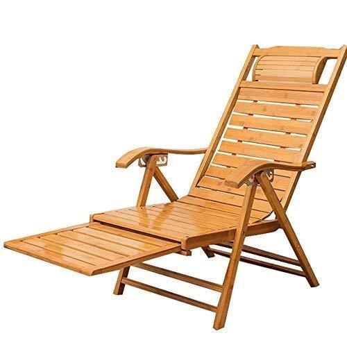 GJJSZ Tumbonas de bambú para el Sol,sillas reclinables Ajustables,Cama Plegable para Adultos,Siesta de Verano con reposabrazos y reposapiés de Masaje escalable