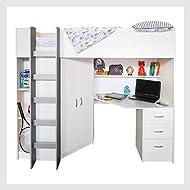 Mrsflatpack HIGH SLEEPER CAMBRIDGE WHITE HIGH BED M243W