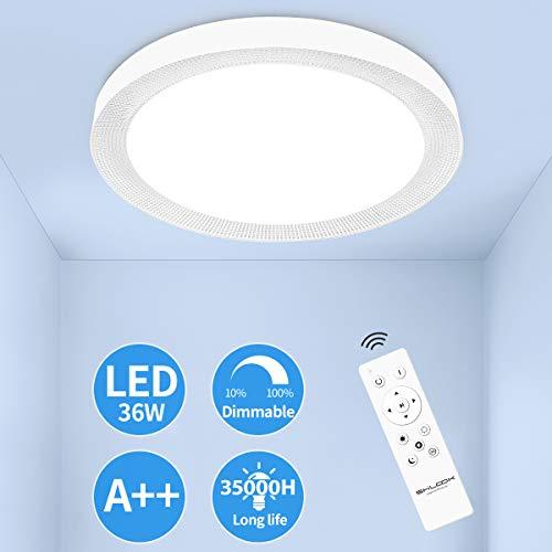 Moderne led-plafondlamp dimbaar met afstandsbediening, 36 W plafondlamp 3000-6500 K kleurtemperatuurregeling voor slaapkamer woonkamer keuken werkkamer, wit rond 45 cm