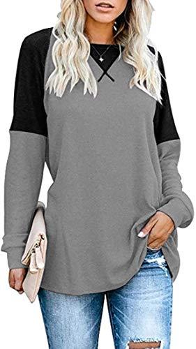 herdress Damen Rundhals Langarmshirt Casual Raglan Pullover mit Ziernaht Kontrastfarbig Bluse Oberteile Tunika Tops DHD010-GES