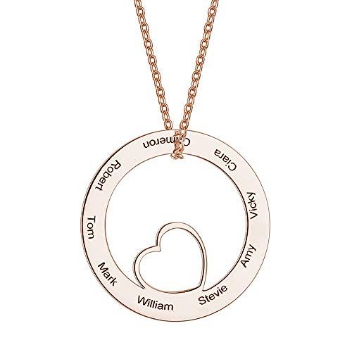 Soufeel Personalisierte Kette mit Gravur Kreis Anhänger mit Herz 925 Sterling Silber Rosegold Vergoldet Geschenk für Frauen