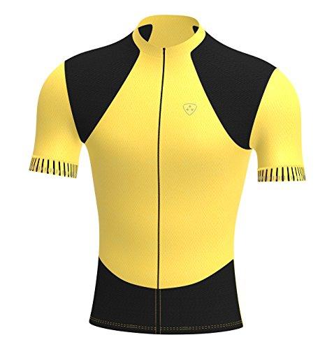 Deportes Hera Ropa Ciclismo, Maillot Mangas Cortas, Camiseta Verano de Ciclistas, Slim Fit (Amarillo/Negro, S)