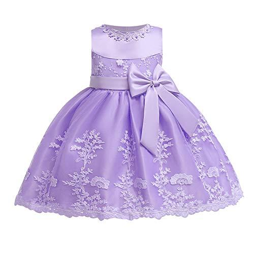 LZH Kleinkind Baby Mädchen Kleid Geburtstag Bowknot Hochzeit Tutu Prinzessin Blume Spitzenkleid(8135-purple,6M)