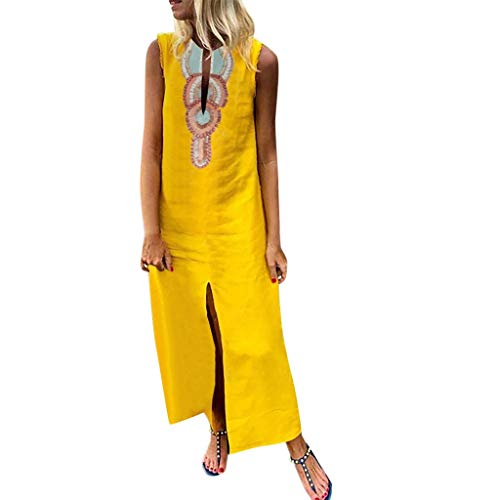 Damen Böhmischen Gedruckten Sommerkleid Freizeitkleider ärmellose V-Ausschnitt Leinen Maxi-Kleid Split Hem Baggy Kaftan Fashion Tops Leinenkleid Tuchkleid Blusenkleid X-Gelb2 XXL