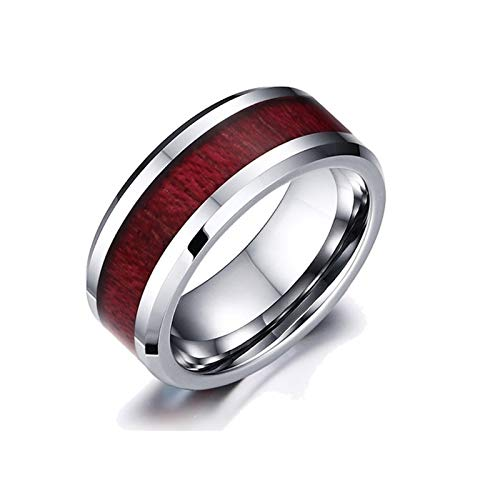 Anillo de pareja, anillos de promesa, grano de madera, titanio, acero, corazón, anillos de pareja, anillo de declaración minimalista, delicada joyería personalizada (Men- 11)