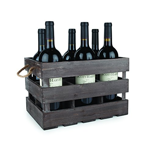 "Twine 4281 Farm House Decor, Wood Wine Holder Rustic Farmhouse Wooden 6 Bottle Crate, 8.75"", Multi Color"