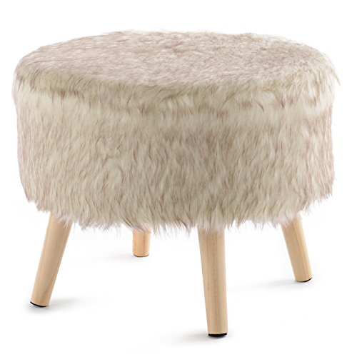 Cheer Collection 17' Round Ottoman | Super Soft Decorative Tan Wolf Faux Fur Foot Stool with Wood Legs