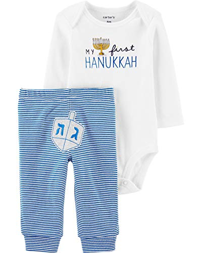 Carter's Baby 2 Piece Long Sleeve Hanukkah Bodysuit and Pants Set (18 Months, White/Blue)