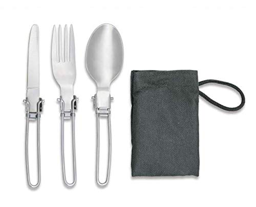 Set de Cubiertos de Camping Barbaric, Incluye Tenedor, Cuchara y Cuchillo Plegable, Material de Acero INOX, con Funda de Nylon