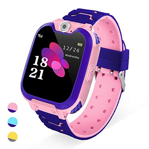 Reloj Inteligente para Niños -Smart watch (1GB tarjeta SD incluida) con Reproductor de Música con Llamada Cámara SOS 7 Juegos Reloj Digital Completo de 4 a 12 años Regalo de Cumpleaños (Rosado)