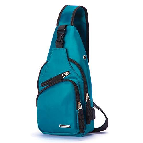 Men Sling Bag Nylon Water Resistant Shoulder Chest Crossbody Bag with USB Charging Port Dark Green