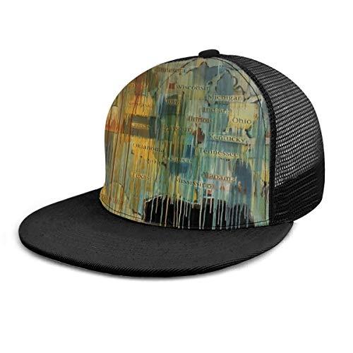 Gorra de béisbol ajustable con diseño de mapa del mundo, estilo retro, unisex, color negro