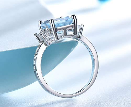 SHIJING Blauwe edelsteen ringen vrouwelijke echte sterling zilveren aquamarijn verlovingsringen romantische bruiloft fijne sieraden,10
