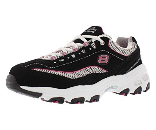 Skechers Sport Women's D'Lites Memory Foam Lace-up Sneaker,Black/Pink,9.5 XW US