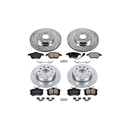 Power Stop K5749 Front & Rear Brake Kit with Drilled/Slotted Brake Rotors and Z23 Evolution Ceramic Brake Pads