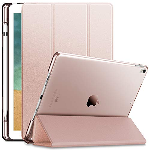 INFILAND iPad Air 3 Case (10.5 Inch 2019)/iPad Pro 10.5 2017 Case,Translucent Frosted Back Stand with Pencil Holder,PU Leather Smart Cover with Auto Sleep/Wake for ipad Air 3/ ipad Pro 2017,Rose Gold