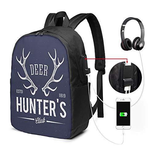Usicapwear rugzak, Herten Hunters Club Logo Ontwerp met Antlers Retro Typografie Shabby Stijl Icoon