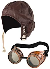 Biggles Hat Pilot Goggles Frame Aviator Grandpa's Great Escape Fancy Dress Kit Set Includes: Biggles Hat + Pilot Goggles Adults Biggles Hat Brown & Pilot Goggles Black Frame With Clear Lens Colour may be slightly varied from pictures because of the d...