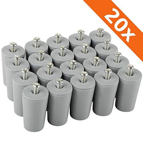 ECENCE Anschlagpuffer Stopper für Rollladen, 20er Set 40mm inkl. Schraube Grau, Endanschlag, Rollladen Schutz komplett