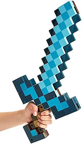 Blaue Schwert Spitzhacke, 2 in 1 Plastik Deformationsschwert (52cm) Spitzhacke (42cm) Waffen Requisiten, Minecraft Spiel Peripherie Spielzeug, Imitation Fantasy Spiel für Kinder
