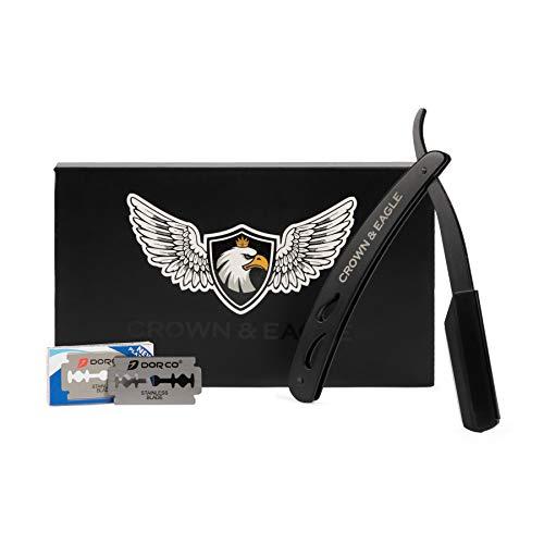 CROWN & EAGLE Edles hochwertiges Rasiermesser Edelstahl + 20 GRATIS Wechselklingen + Bedienungsanleitung | Bartpflege Set | hochwertig