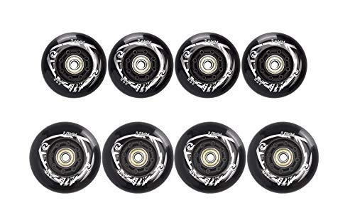 8Pcs76mm+80mm Inline Skate Wheels Outdoor Asphalt Formula 85A Blades Freestyle Roller Skates Replacement Wheels with Speed Bearings ILQ-9 and Spacers