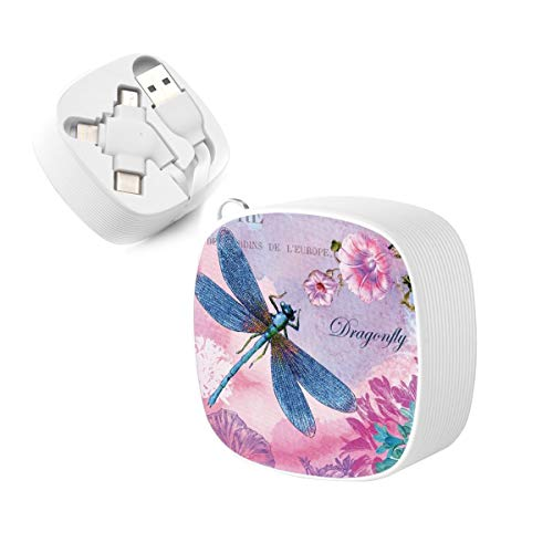 3-in-1 USB Cable, JOEKAORY Retractable Flat Micro USB Cable Type C Fast Charging Cord for iPhone, iPad, Samsung, LG, HTC (Pink flower and blue dragonfly)